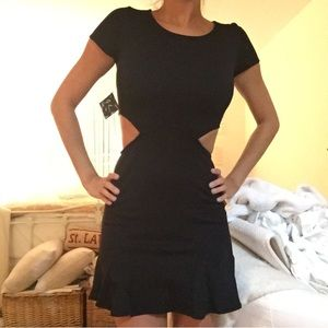 NASTY GAL black cut out flare dress